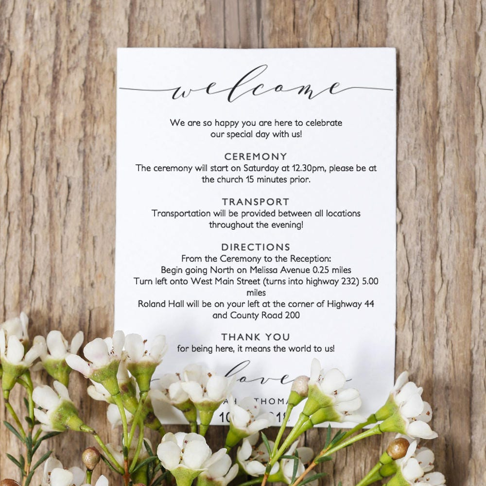 Welcome Itinerary 5x7 Wedding Guest note, Welcome letter template, Wedding printable wedding