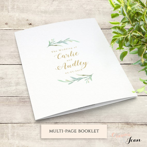 greenery booklet wedding program template order of service etsy