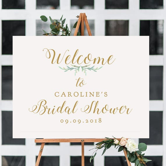 "Bridal Shower Welcome Sign, Printable Welcome to Bridal Shower Sign, 18x24"" and A2, Greenery, Printable Shower Signage. Editable PDF"
