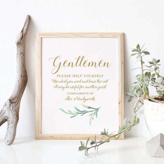 "Ladies and Gentlemen Bathroom Sign, Printable Ladies and Gents Wedding Basket Signs ""Greenery"" 5x7"" & 8x10"" Corjl and Download and Print"