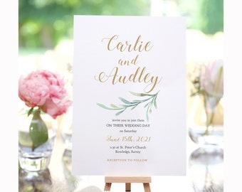 "Greenery Wedding Invitation Set Templates, Printable Wedding Invitations, Invitation Suite ""Greenery"" Corjl Template, FREE Demo"