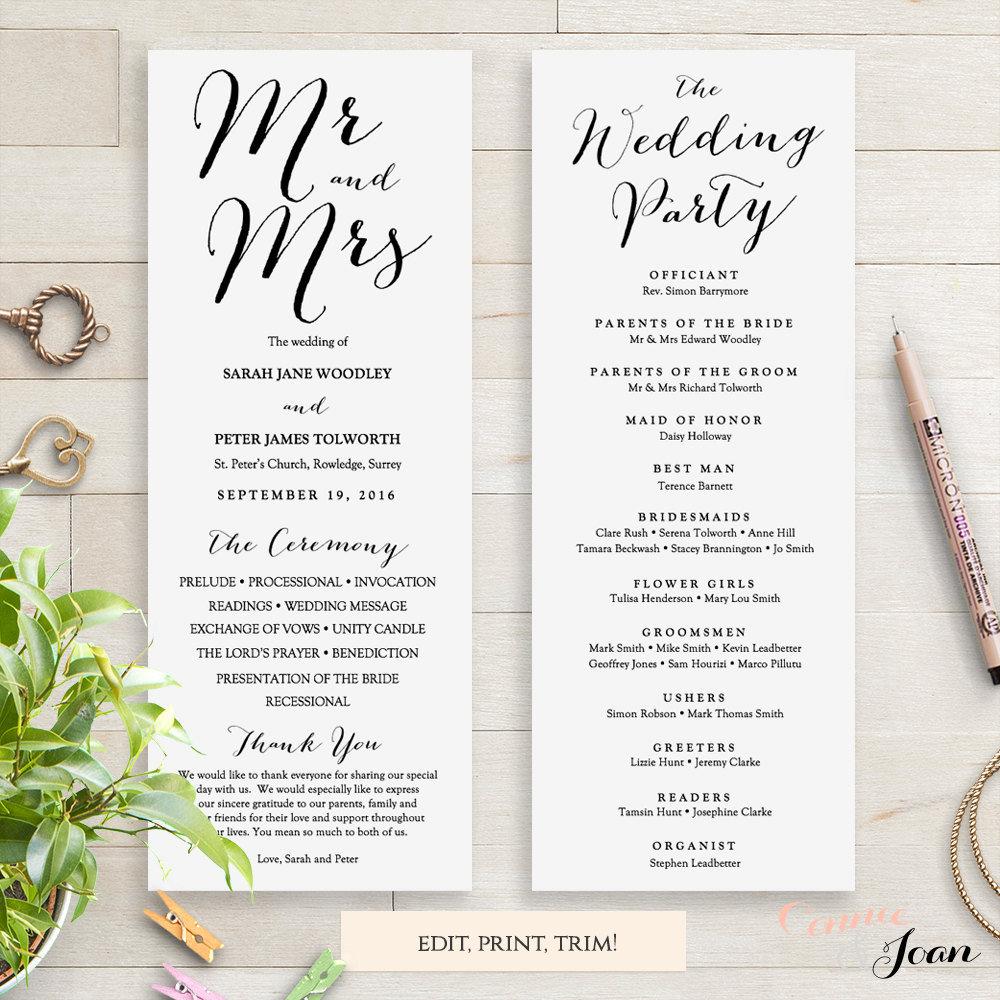 Wedding Programs Instant Download Template Sweet Bomb Edit Print