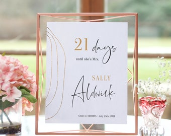 """Abstract - Bridal Shower Countdown Sign, Printable Days Until I Do Sign, 4x6"""", 5x7"""" & 8x10"""", Corjl Templates, FREE Demo"""