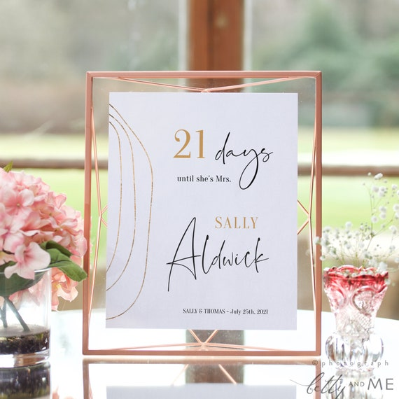 "Abstract - Bridal Shower Countdown Sign, Printable Days Until I Do Sign, 4x6"", 5x7"" & 8x10"", Corjl Templates, FREE Demo"