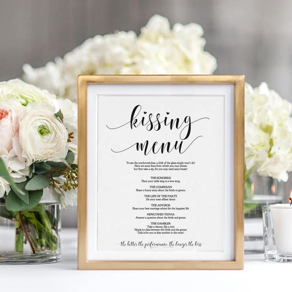Kissing Menu Printable Sign, Wedding Kissing Menu Sign, 8x10 Editable Wedding Sign, Editable PDF