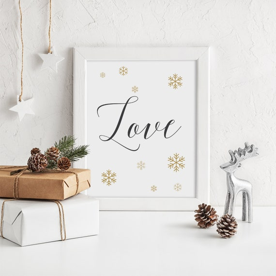 "Love Christmas Sign, Snowflake Joy, Love, Peace Printable Signs, Gold Snowflakes, 3 signs 8x10"" Download and Print"