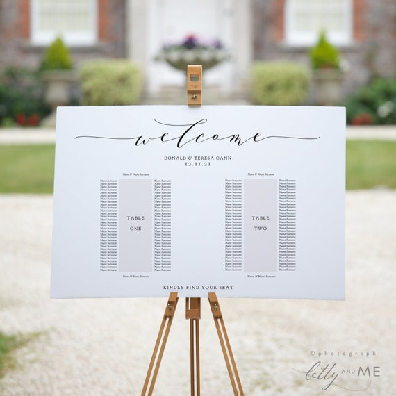 "2 Banquet Table Seating Plan Template, 2 Long Tables, Printable Template, ""Wedding"", 4 sizes included, Corjl Template, FREE Demo"