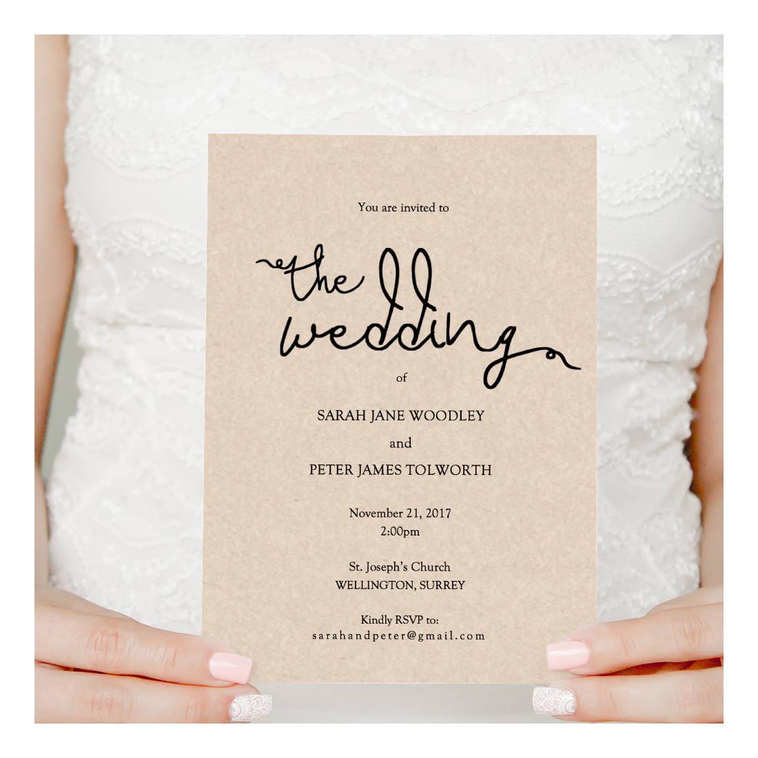 Wedding Invitation printable instant download, invitation printable ...