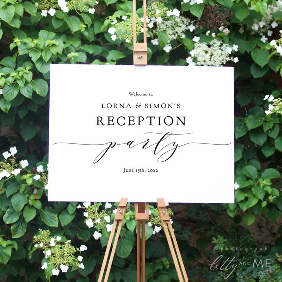 "Wedding Reception Party Sign, DIY Printable Welcome to Reception Sign, ""Wedding"" Printable Sign 18x24"" & 24x36"", Corjl FREE Demo"