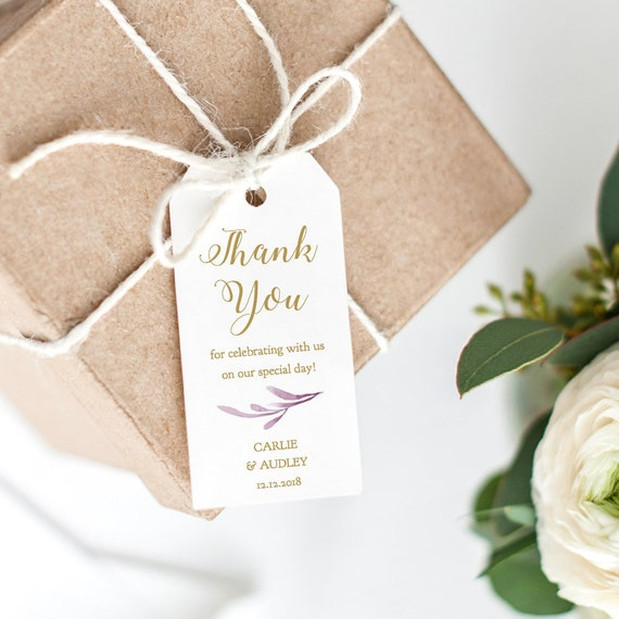 "Lilac Thank You Tags 2x4"" Printable Wedding Favor Tags, Wedding Thank You Tags, Gift Tags, 'Lilac Wedding', Edit in WORD or PAGES"