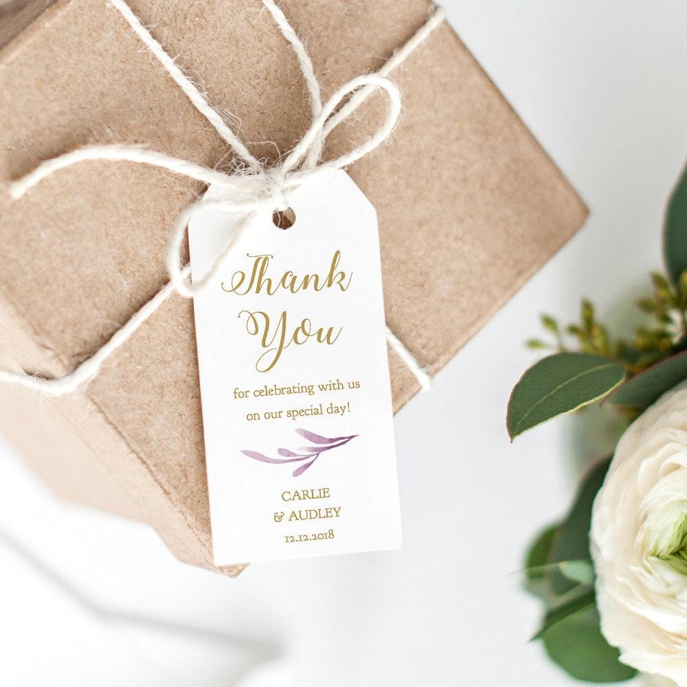 Lilac Thank You Tags 2x4 Printable Wedding Favor Tags, Wedding Thank ...