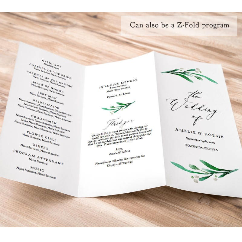 z fold or trifold wedding program printable template order of