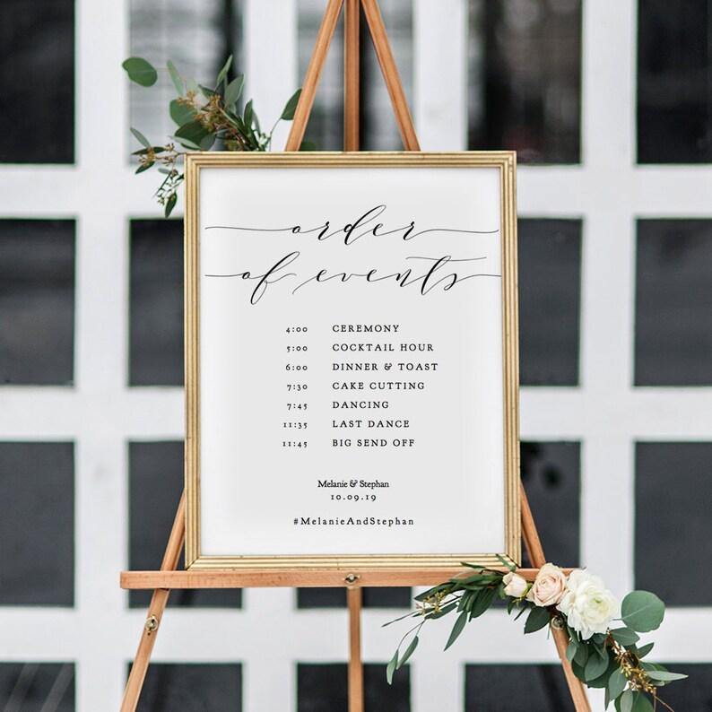 Order of Events Timeline Wedding Sign Printable Timeline Sign image 0