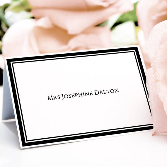 Table Place Cards with Border Printable Border Name Cards, folded place cards with names on both sides, Piccadilly, edit in WORD or PAGES