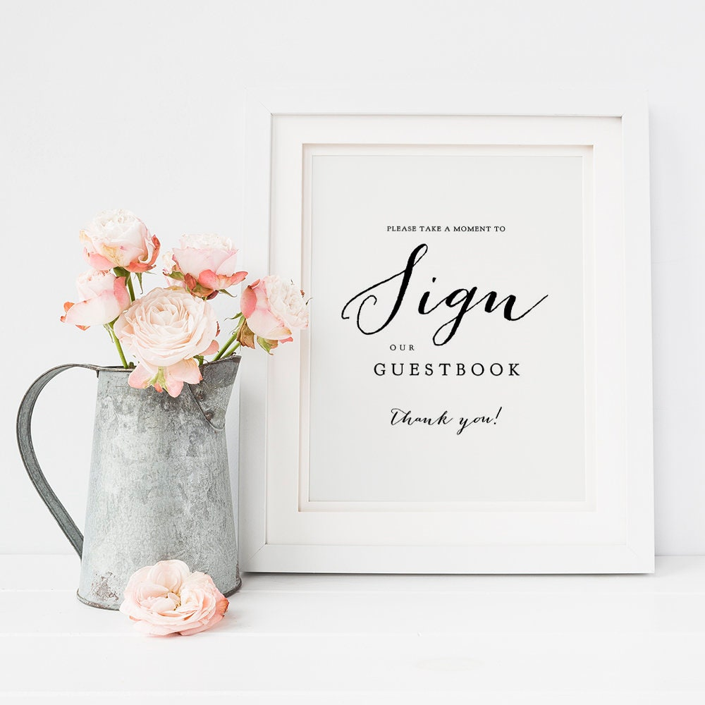 Gift Table Sign Guest Book Sign Wedding Signage Wedding Printable Please sign our guest book Printable Sign PDF Instant Download #E008