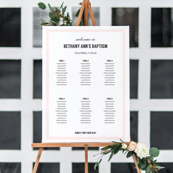Seating Plan in Pink, Printable Table Plan for a variety of celebrations like Baptism, Anniversary, Surprise Party, 6 sizes Editable PDF