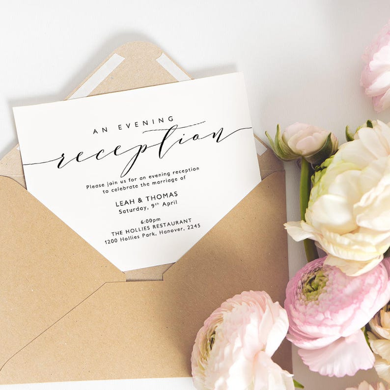 Evening Reception Invitation Printable Wedding Card Template A6 5x7 And 55x4 Edit In WORD Or PAGES