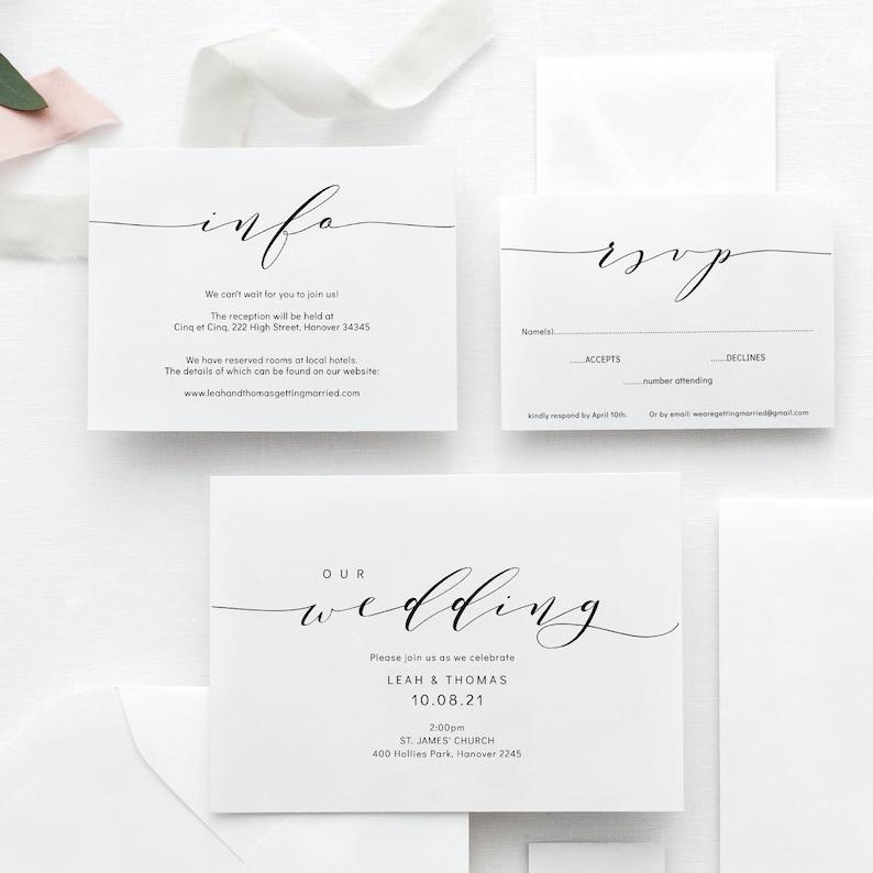 Wedding Invitation Template Set Printable wedding invitation image 0