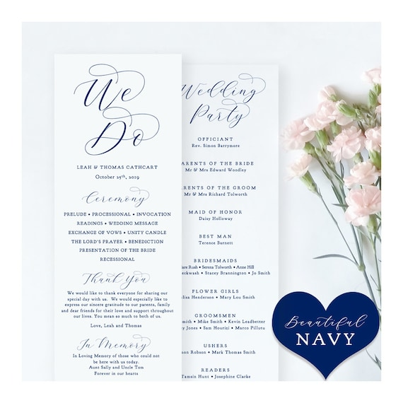 "Navy Wedding Programs, Printable Blue Wedding Programs, Blue Wedding Programs, ""Beautiful"" Edit in WORD or PAGES"