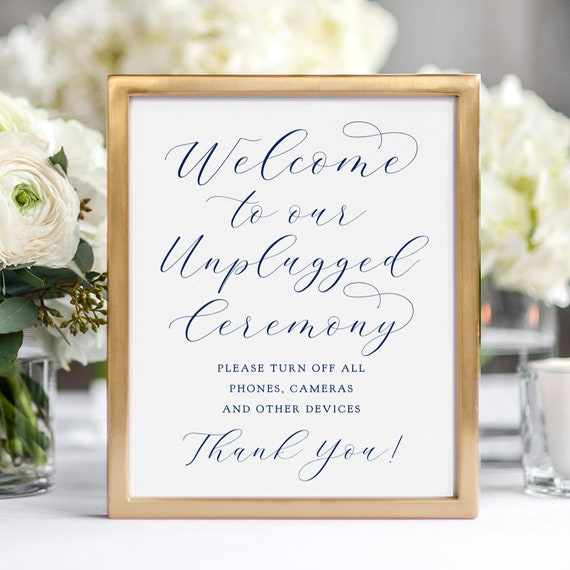 "Navy Welcome to our Unplugged Ceremony Sign, Printable Wedding Sign ""Beautiful"" 8x10"", Download and Print"