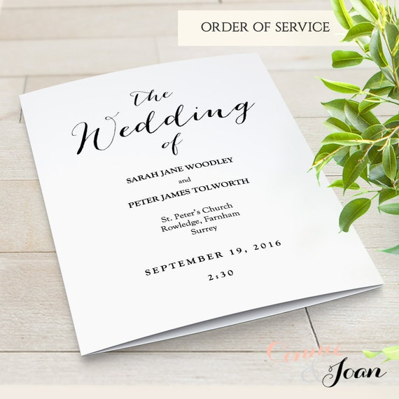 Folded Wedding Program Template Modern. Sweet Bomb. Edit, Print, Fold | DIY Editable Printable Template | Edit in WORD or PAGES