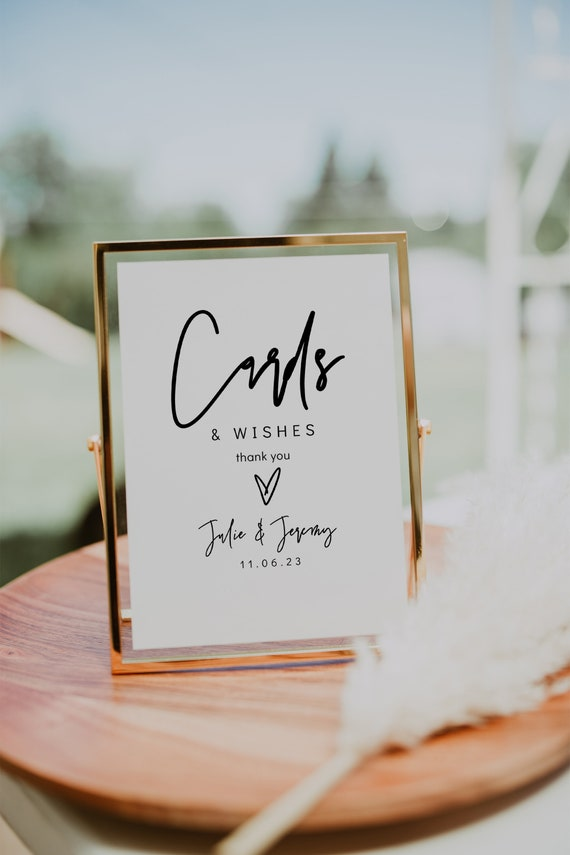 Cards & Wishes Sign, Printable Wedding Cards Sign, Wedding Cards and Wishes Template, 3 Sizes , Corjl Template, FREE Demo | 88