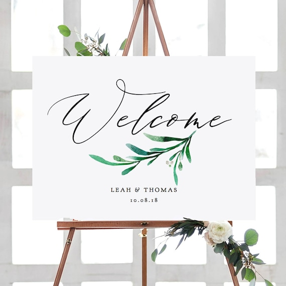 "Welcome Sign, Printable Greenery Welcome Sign, 6 sizes included, Instantly download, customise & print, ""Wedding Greenery"" Editable PDF"