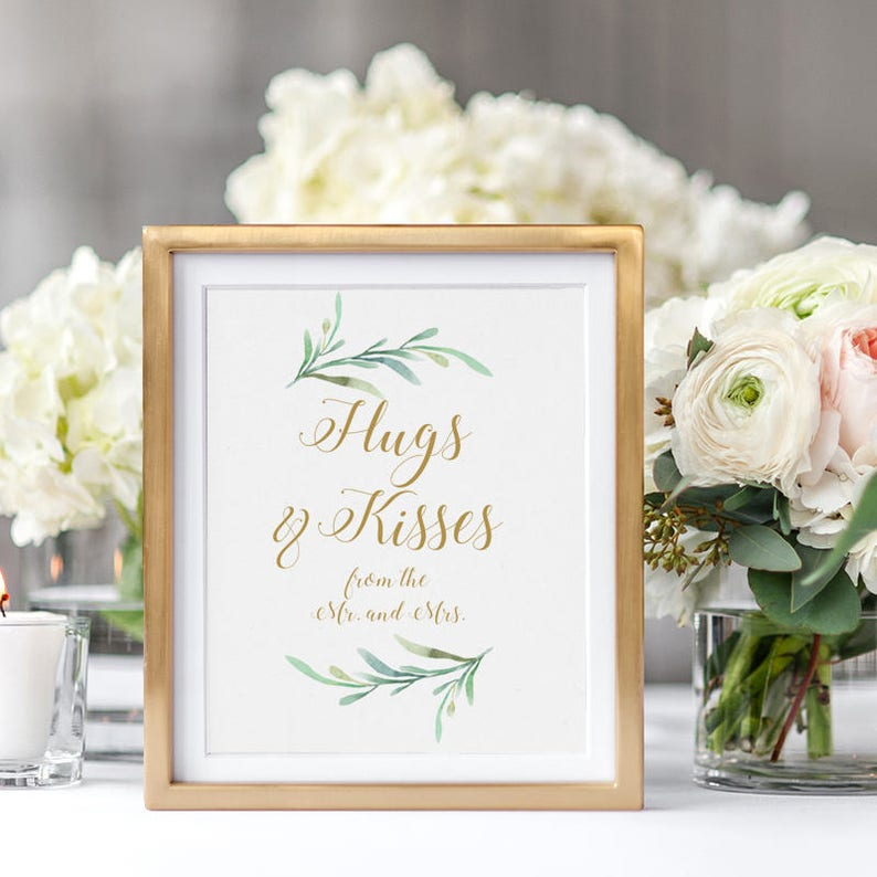 Hugs and Kisses from the Mr. and Mrs. Wedding Sign Printable image 0