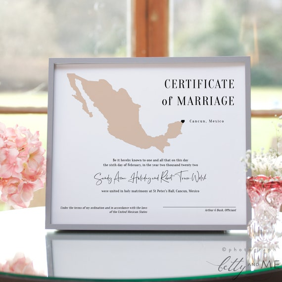 Destination - Mexico Certificate of Marriage, Printable Mexican Marriage Certificate, in 3 Sizes, Corjl Templates, FREE Demo