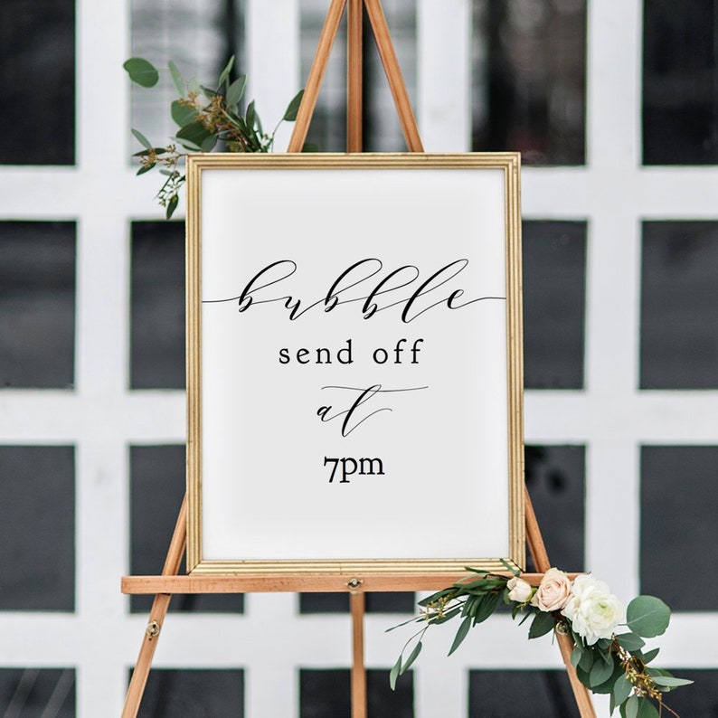 Bubble Send Off Sign Printable template Wedding Bubbles Sign image 0