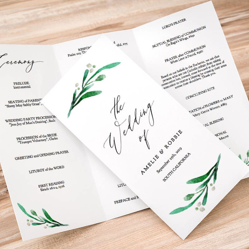 trifold wedding program printable template folded order of service z