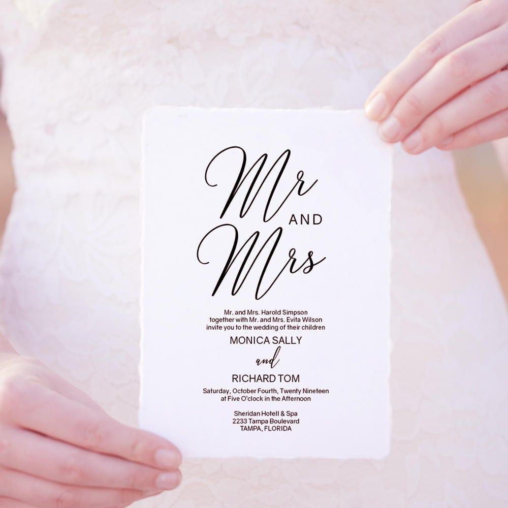 mr and mrs printable wedding invitation wedding invitation template