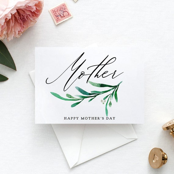 "Happy Mother's Day Card or Mother on my Wedding Day, DIY Editable Printable Mother Card, ""Wedding Greenery"", Editable PDF"