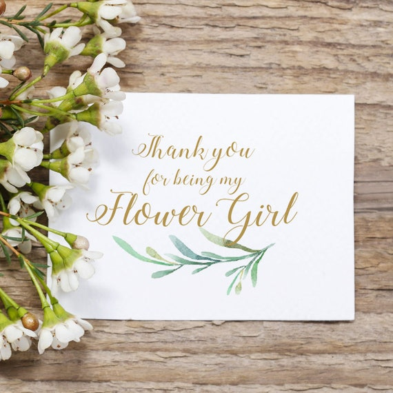 Thank You for Being My Flower Girl Notecard with Greenery. Wedding Note card. Folded notecard, 2 sizes. DIY Printable Thank You