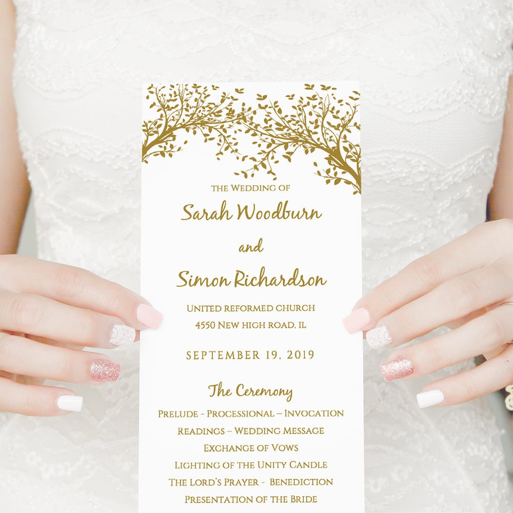 Gold Wedding Program Order Of Service Printable Template Long Shown In Any Colours Edit WORD Or PAGES