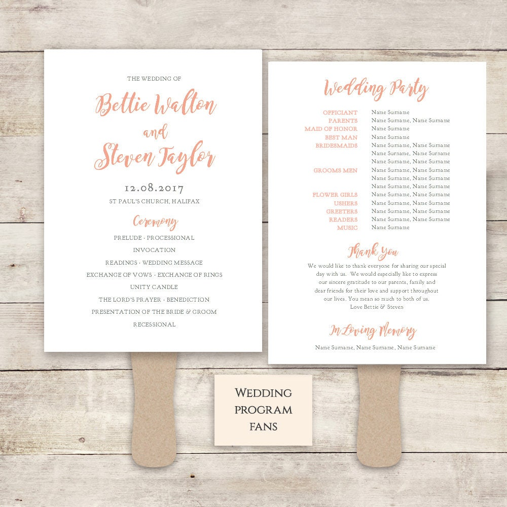 Printable Wedding Program Fan Template Diy Fan Program