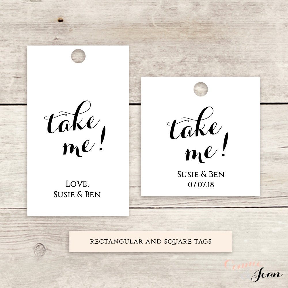 Take Me Favor Tag 15x25 175 Square Labels Printable Wedding