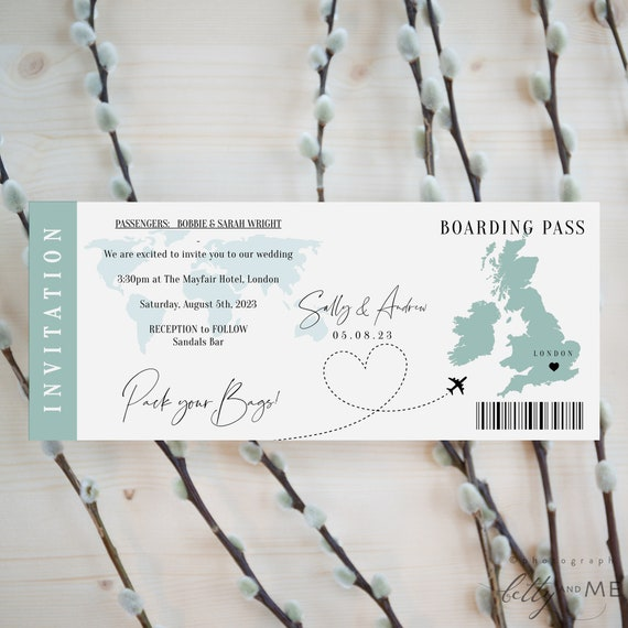Destination - UK Boarding Pass Wedding Invitation, United Kingdom Printable Wedding Invitation Template, Corjl Templates, FREE Demo