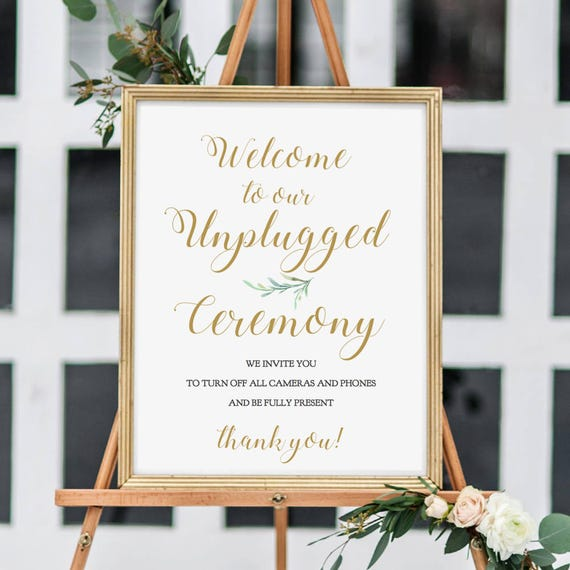"Unplugged Ceremony Sign, Customisable Unplugged Wedding Sign, 18x24"" and A2, Greenery, Printable Wedding Signage, Editable PDF"