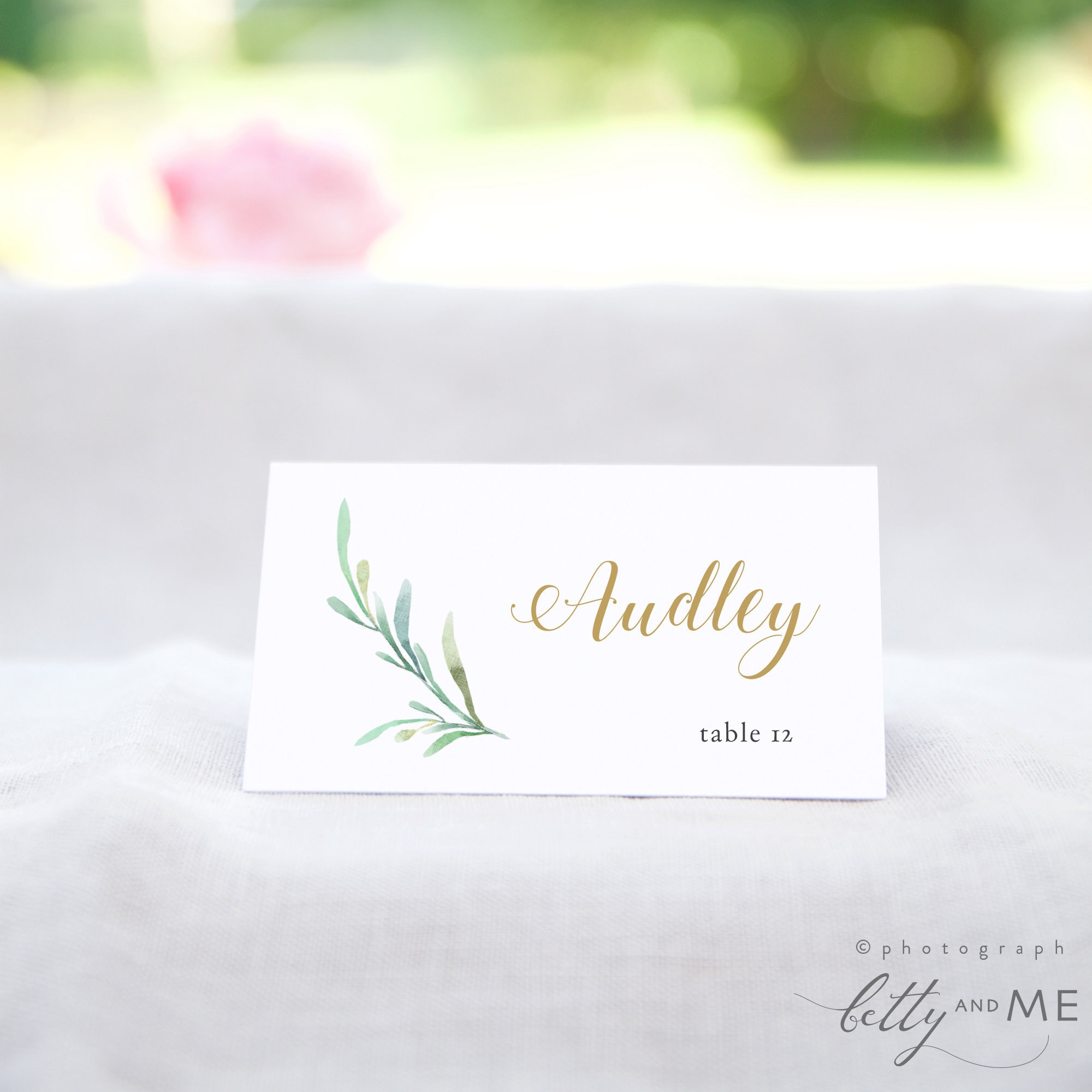 """Greenery Wedding Table Place Card Template - Flat & Folded Name Place Cards  in 2111x211"""" and 211.211x211.211"""" DIY Place Cards, Corjl Template, FREE Demo Within Christmas Table Place Cards Template"""