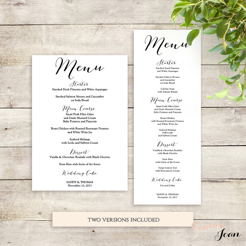 Wedding Menu Template Printable Menu Template Sweet Bomb Etsy