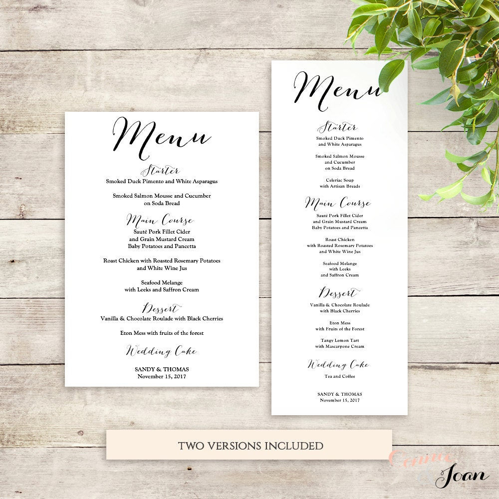 Wedding Menu Template Printable