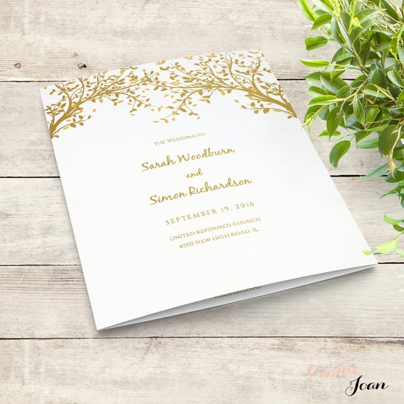 Tree Folded Wedding Program Template, Wedding Order of Service, Leaves, Instant Download, Edit in WORD or PAGES