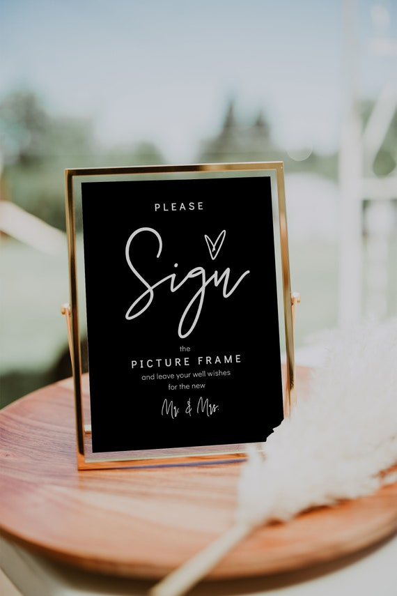 Please Sign, Black or Other Colour, Printable Custom Sign, Direct your guests to sign your guest book object, Corjl Template, FREE demo | 88