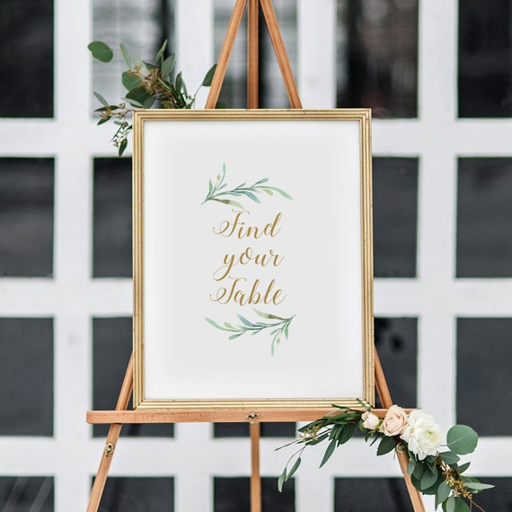 "Find Your Table Sign Wedding Sign Printable. Printable Find Your Table sign, Greenery, Wedding Signage, 8x10"". Download and Print"