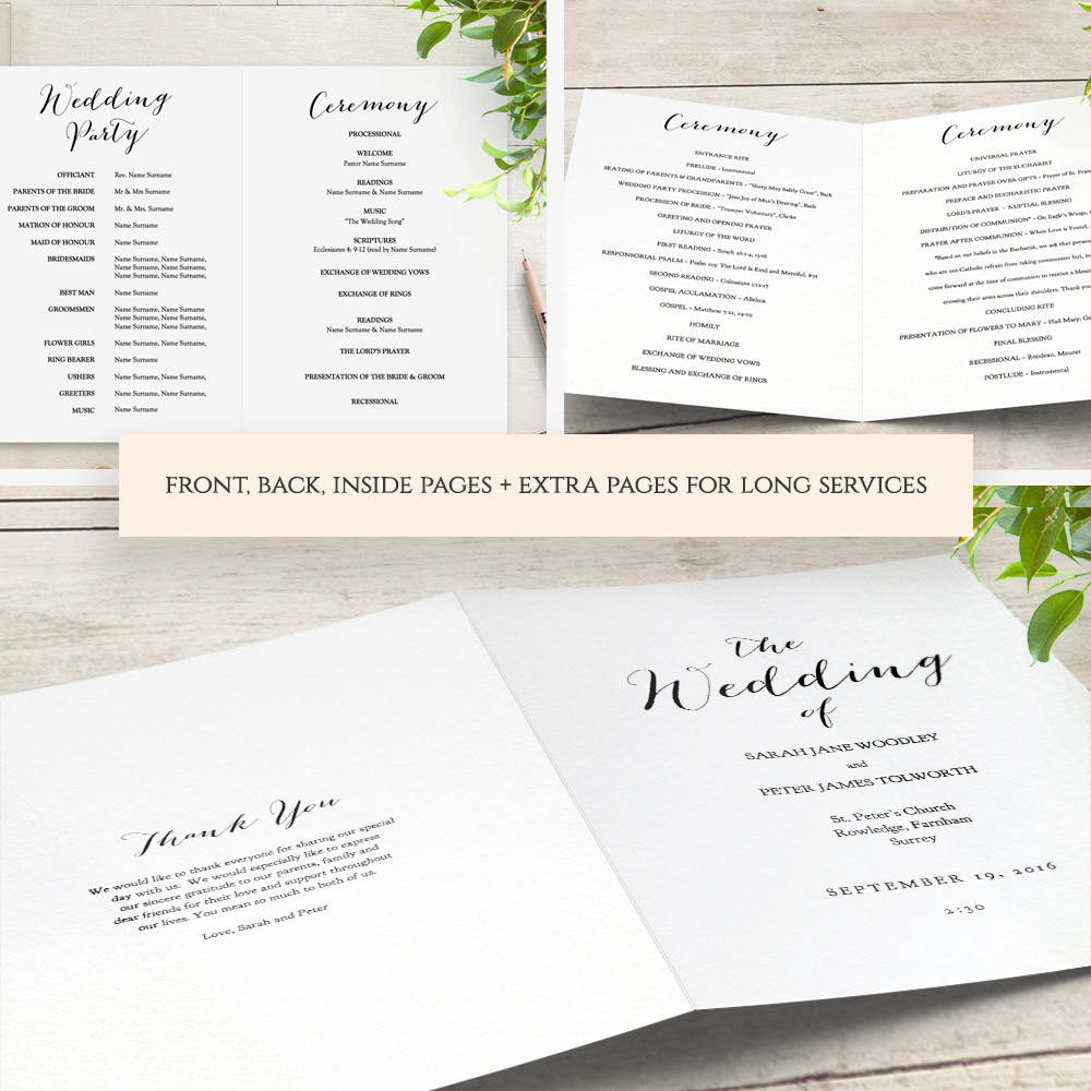 booklet wedding program template church order of service printable