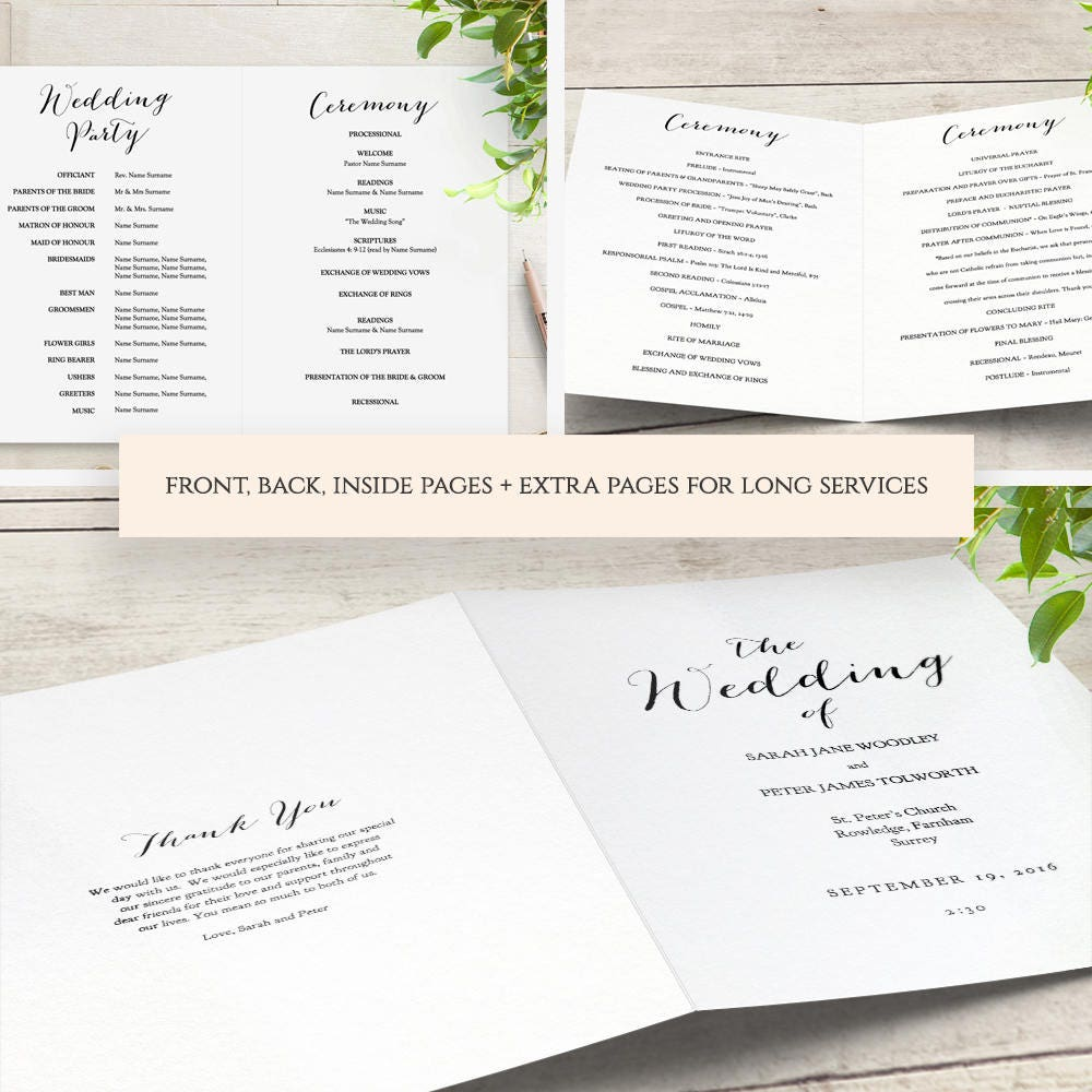 Booklet Wedding Program Template Church Order Of Service Printable - Pages wedding program template