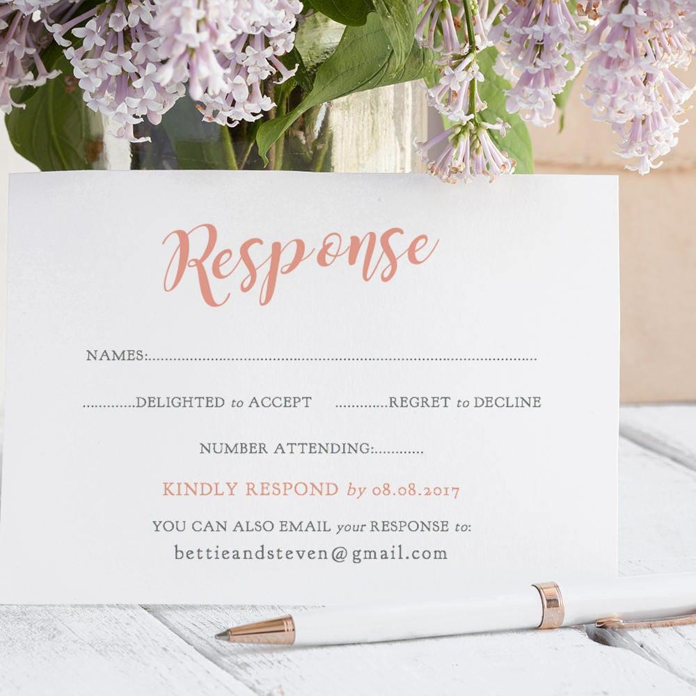 Coral Wedding Rsvp Card Template Printable Response Card