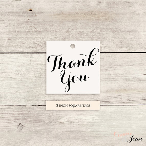 "Thank You 2x2"" Square Favour Tags printable template Thank You printable - Instant Download, Any colours 'Byron' Edit in WORD or PAGES"