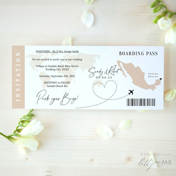 Destination - Mexico Boarding Pass Wedding Invitation, Printable Wedding Invitation Template Destination Wedding, Corjl Templates, FREE Demo
